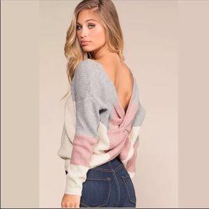 1 Left! Stripe Colorblock Twist Back Sweater